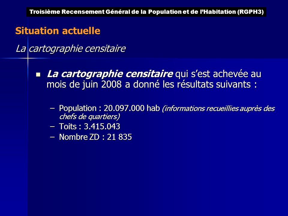 Situation actuelle La cartographie censitaire La cartographie censitaire qui sest achevée au mois de juin 2008 a donné les résultats suivants : La car