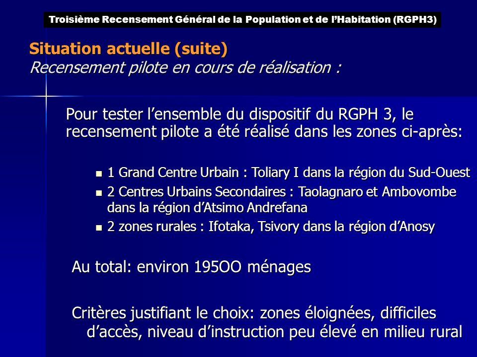 Pour tester lensemble du dispositif du RGPH 3, le recensement pilote a été réalisé dans les zones ci-après: 1 Grand Centre Urbain : Toliary I dans la