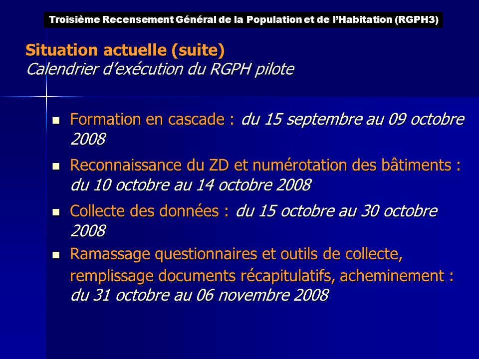 Situation actuelle (suite) Calendrier dexécution du RGPH pilote Formation en cascade : du 15 septembre au 09 octobre 2008 Formation en cascade : du 15