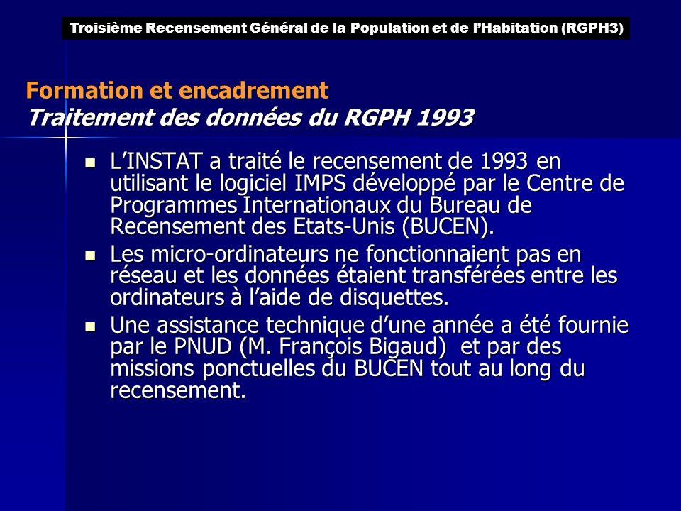 LINSTAT a traité le recensement de 1993 en utilisant le logiciel IMPS développé par le Centre de Programmes Internationaux du Bureau de Recensement de