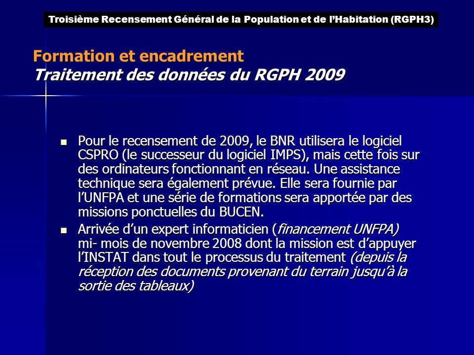 Pour le recensement de 2009, le BNR utilisera le logiciel CSPRO (le successeur du logiciel IMPS), mais cette fois sur des ordinateurs fonctionnant en