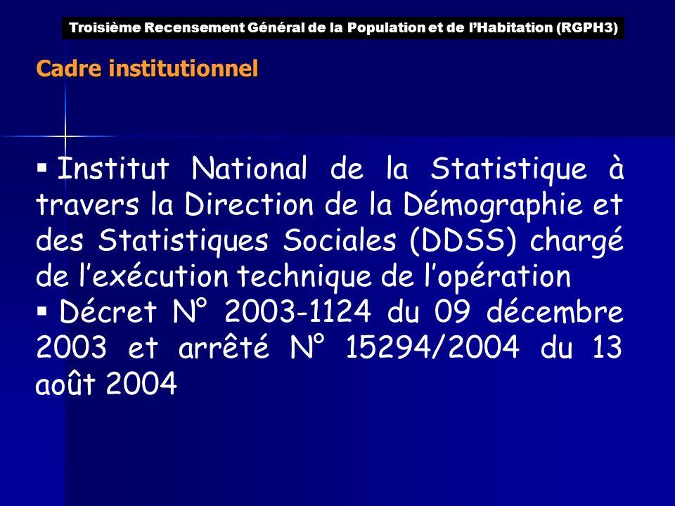 Cadre institutionnel Institut National de la Statistique à travers la Direction de la Démographie et des Statistiques Sociales (DDSS) chargé de lexécu
