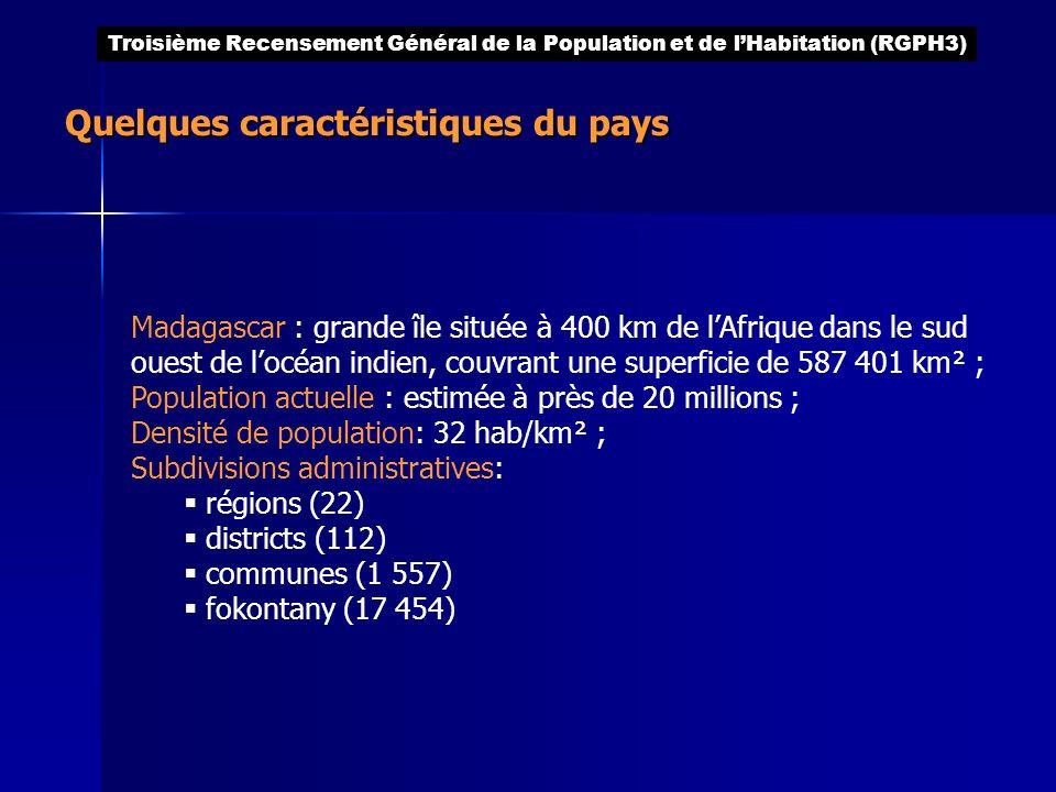 Quelques caractéristiques du pays Madagascar : grande île située à 400 km de lAfrique dans le sud ouest de locéan indien, couvrant une superficie de 5
