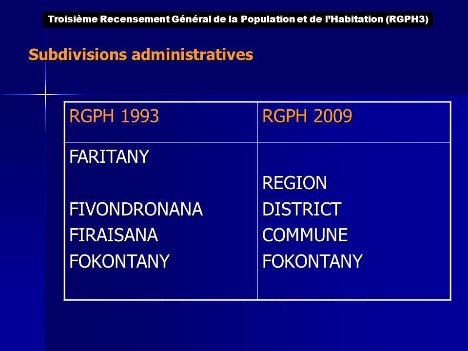 Subdivisions administratives RGPH 1993 RGPH 2009 FARITANYFIVONDRONANAFIRAISANAFOKONTANYREGIONDISTRICTCOMMUNEFOKONTANY Troisième Recensement Général de