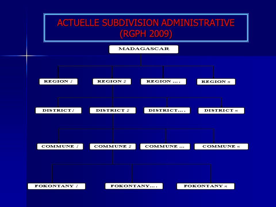 ACTUELLE SUBDIVISION ADMINISTRATIVE (RGPH 2009)
