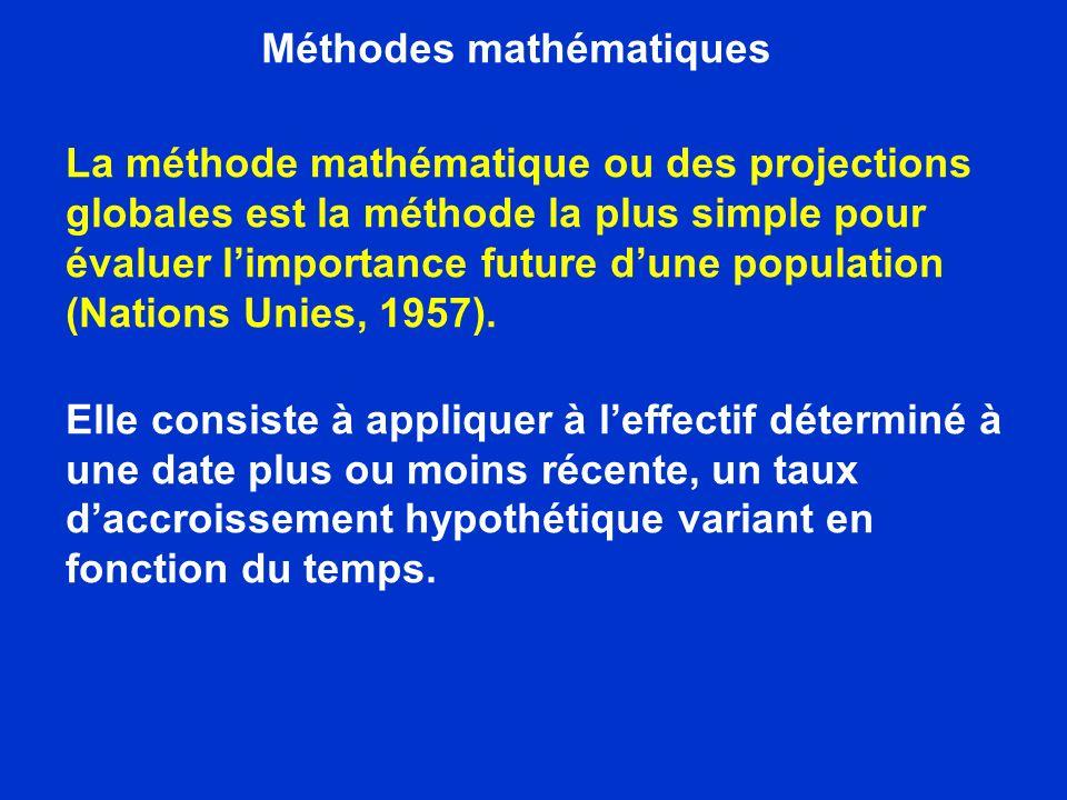 Méthodes mathématiques Les calculs peuvent être faits directement sur la base du taux daccroissement net ou bien on peut déterminer séparément les taux de mortalité, dimmigration et démigration puis les ajouter pour obtenir le taux daccroissement futur de chaque période envisagée.