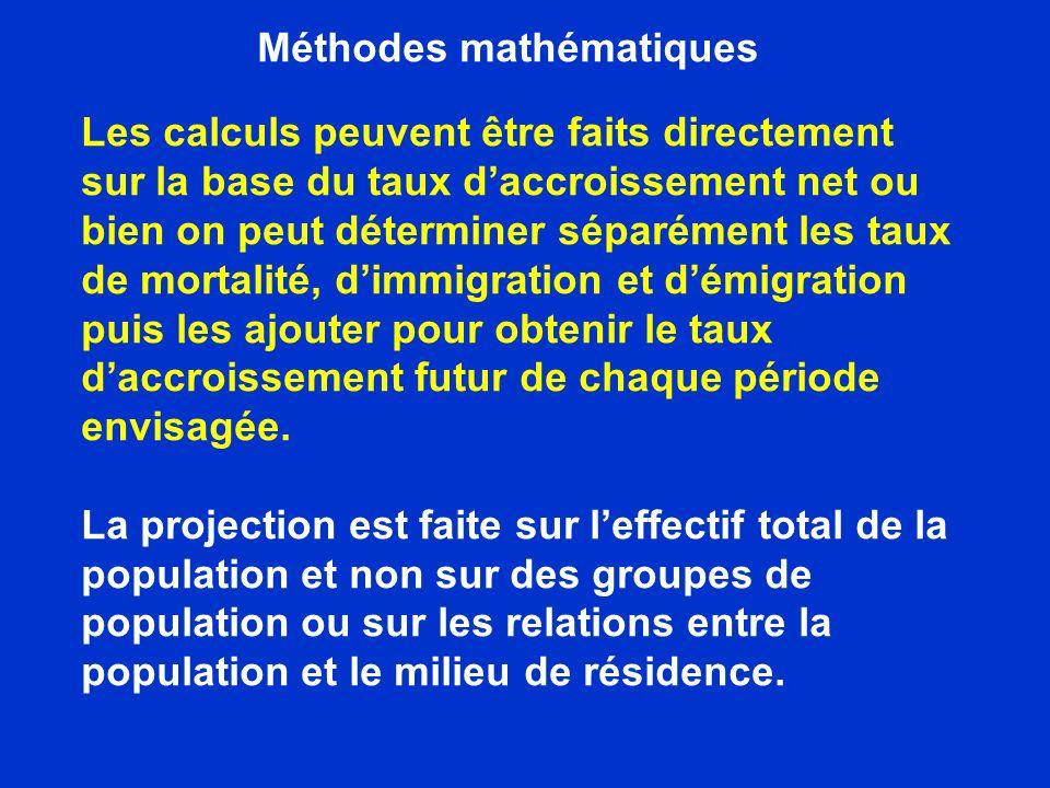 Méthodes mathématiques On peut estimer le taux daccroissement par les formules géométriques et exponentielles données suivantes Avantage Formules faciles à appliquer et résultats rapidement Limite Formules ne tiennent pas compte des facteurs particuliers pouvant influencer lévolution pendant une période donnée.
