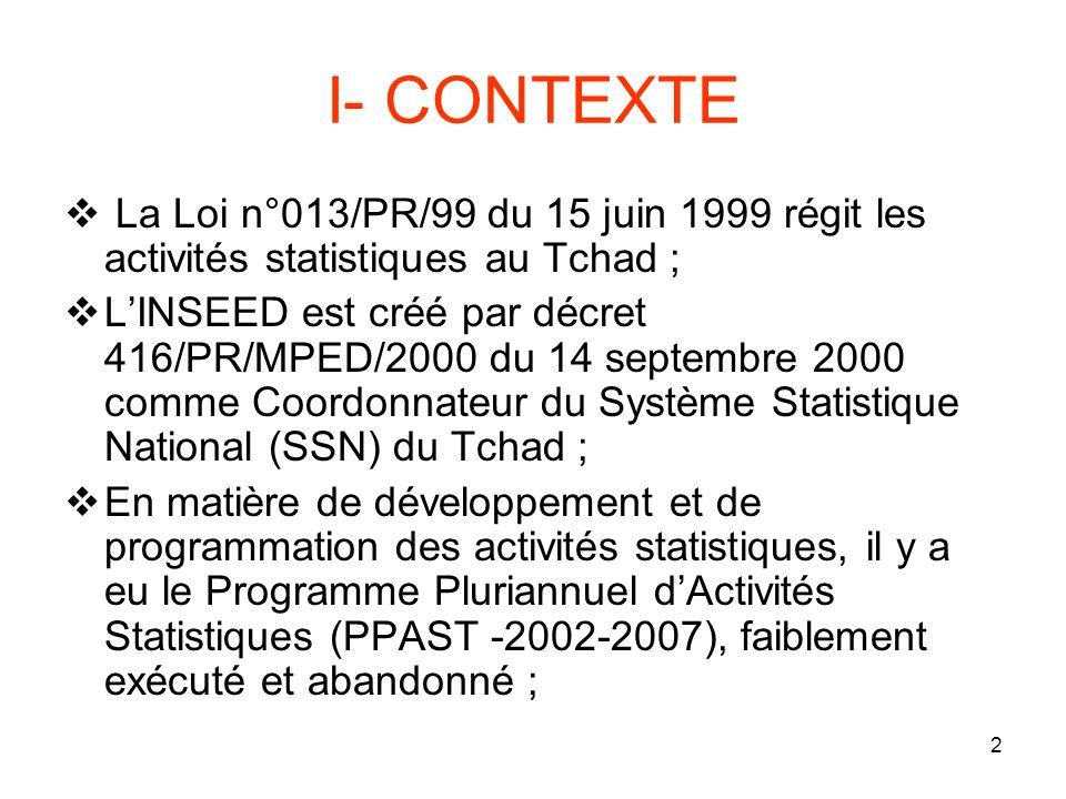 2 I- CONTEXTE La Loi n°013/PR/99 du 15 juin 1999 régit les activités statistiques au Tchad ; LINSEED est créé par décret 416/PR/MPED/2000 du 14 septembre 2000 comme Coordonnateur du Système Statistique National (SSN) du Tchad ; En matière de développement et de programmation des activités statistiques, il y a eu le Programme Pluriannuel dActivités Statistiques (PPAST -2002-2007), faiblement exécuté et abandonné ;