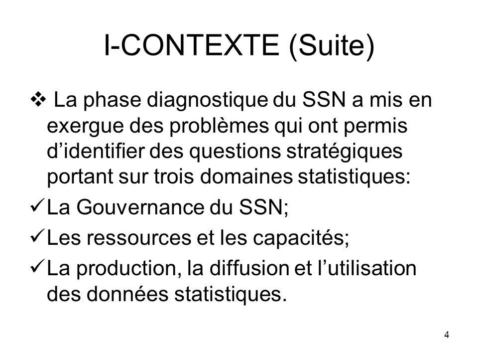 4 I-CONTEXTE (Suite) La phase diagnostique du SSN a mis en exergue des problèmes qui ont permis didentifier des questions stratégiques portant sur trois domaines statistiques: La Gouvernance du SSN; Les ressources et les capacités; La production, la diffusion et lutilisation des données statistiques.
