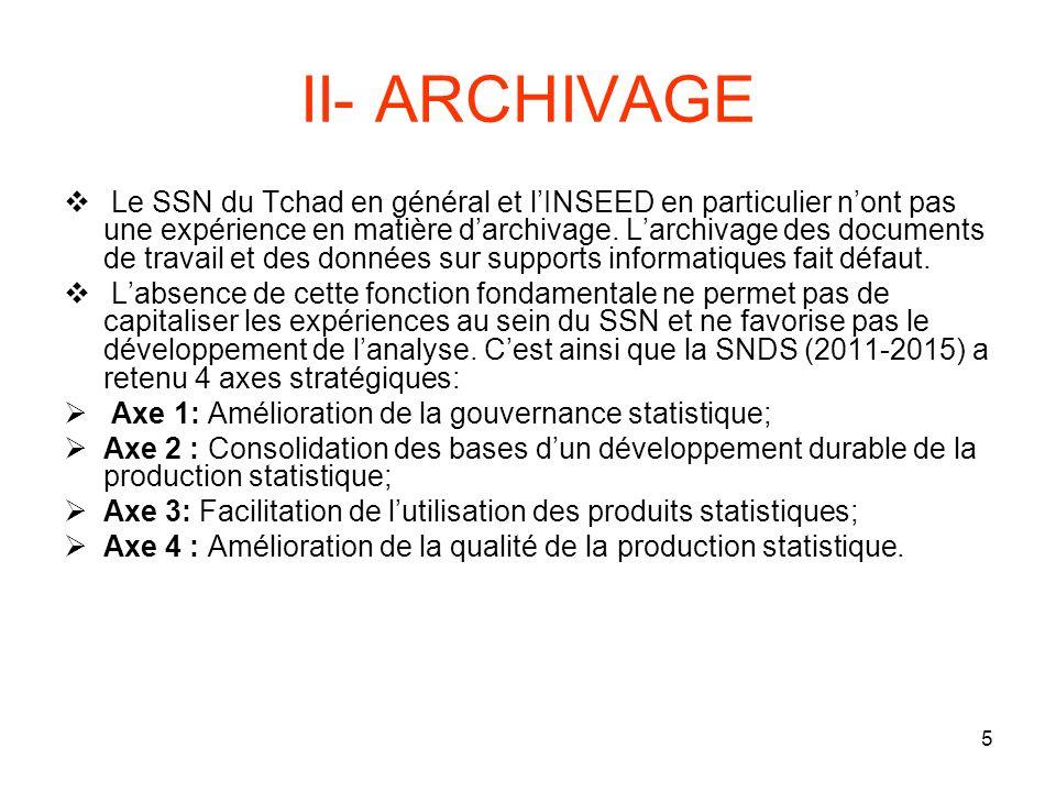 5 II- ARCHIVAGE Le SSN du Tchad en général et lINSEED en particulier nont pas une expérience en matière darchivage.
