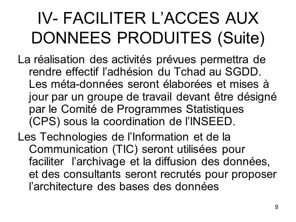 9 IV- FACILITER LACCES AUX DONNEES PRODUITES (Suite) La réalisation des activités prévues permettra de rendre effectif ladhésion du Tchad au SGDD.