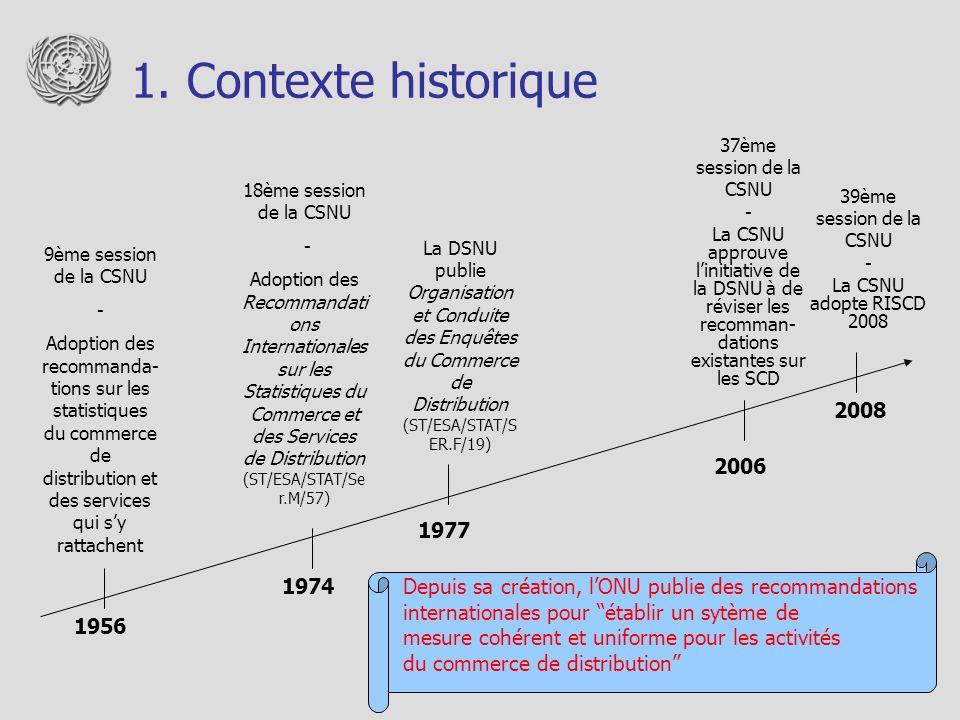 1. Contexte historique Depuis sa création, lONU publie des recommandations internationales pour établir un sytème de mesure cohérent et uniforme pour