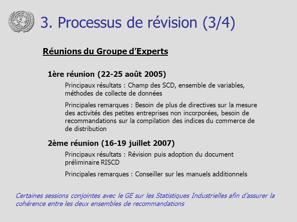 3. Processus de révision (3/4) Réunions du Groupe dExperts 1ère réunion (22-25 août 2005) Principaux résultats : Champ des SCD, ensemble de variables,