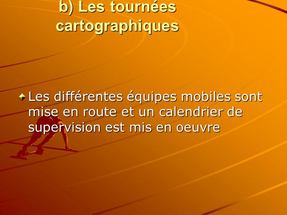 b) Les tournées cartographiques Les différentes équipes mobiles sont mise en route et un calendrier de supervision est mis en oeuvre