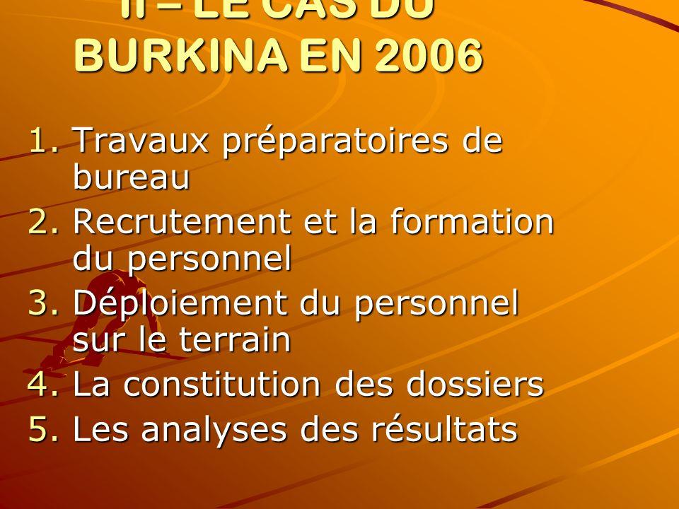 II – LE CAS DU BURKINA EN 2006 1.Travaux préparatoires de bureau 2.Recrutement et la formation du personnel 3.Déploiement du personnel sur le terrain 4.La constitution des dossiers 5.Les analyses des résultats