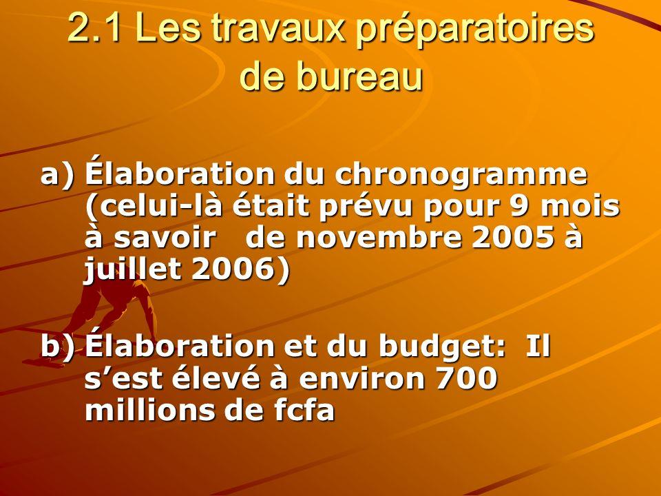 2.1 Les travaux préparatoires de bureau a)Élaboration du chronogramme (celui-là était prévu pour 9 mois à savoir de novembre 2005 à juillet 2006) b)Élaboration et du budget: Il sest élevé à environ 700 millions de fcfa