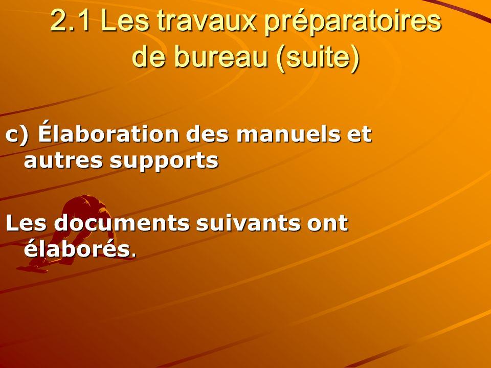 2.1 Les travaux préparatoires de bureau (suite) c) Élaboration des manuels et autres supports Les documents suivants ont élaborés.
