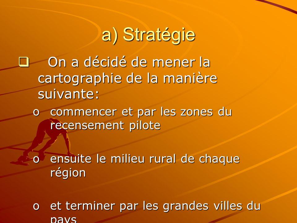 a) Stratégie On a décidé de mener la cartographie de la manière suivante: On a décidé de mener la cartographie de la manière suivante: ocommencer et par les zones du recensement pilote oensuite le milieu rural de chaque région oet terminer par les grandes villes du pays