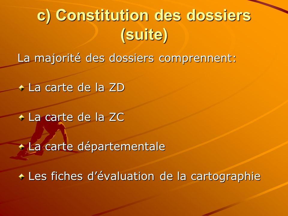 c) Constitution des dossiers (suite) La majorité des dossiers comprennent: La carte de la ZD La carte de la ZC La carte départementale Les fiches dévaluation de la cartographie
