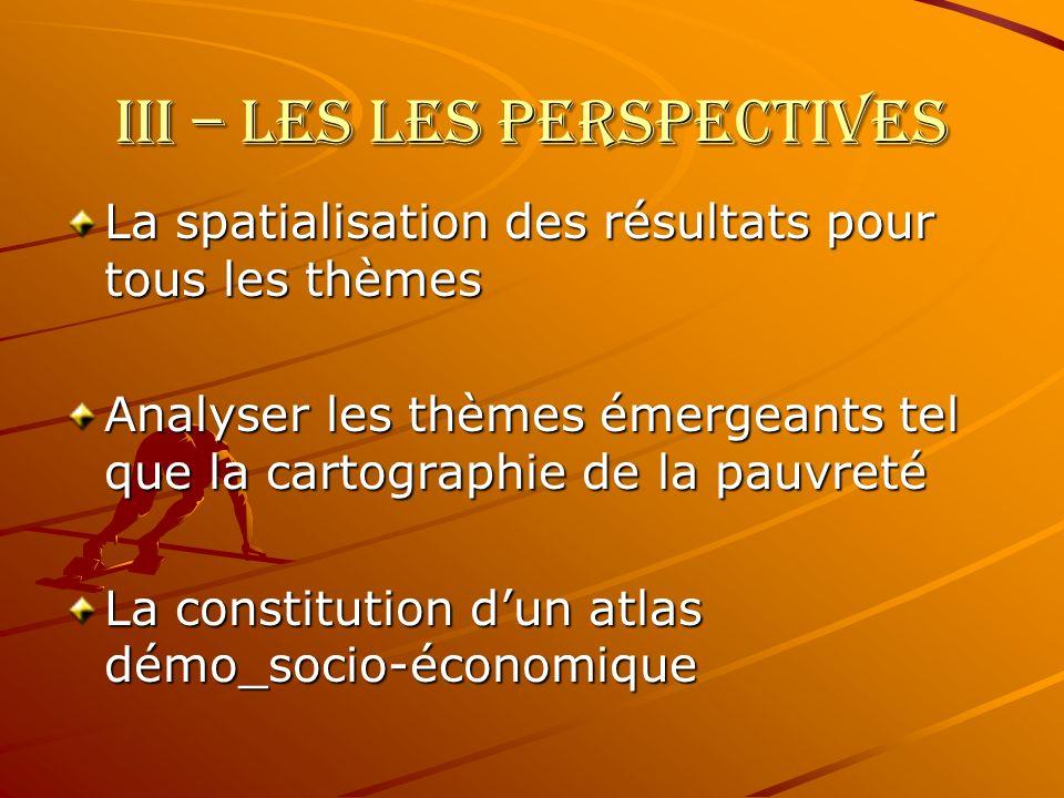 III – LES LES PERSPECTIVES La spatialisation des résultats pour tous les thèmes Analyser les thèmes émergeants tel que la cartographie de la pauvreté La constitution dun atlas démo_socio-économique
