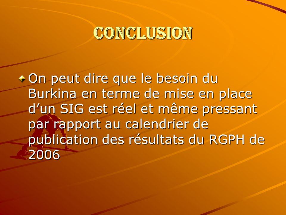 CONCLUSION On peut dire que le besoin du Burkina en terme de mise en place dun SIG est réel et même pressant par rapport au calendrier de publication des résultats du RGPH de 2006