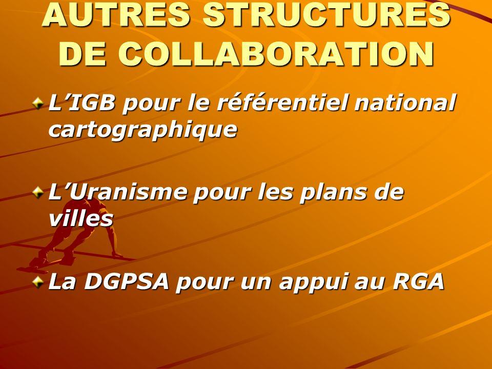 AUTRES STRUCTURES DE COLLABORATION LIGB pour le référentiel national cartographique LUranisme pour les plans de villes La DGPSA pour un appui au RGA