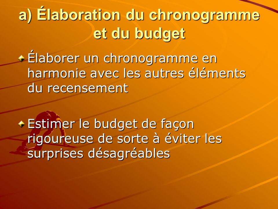 a) Élaboration du chronogramme et du budget Élaborer un chronogramme en harmonie avec les autres éléments du recensement Estimer le budget de façon rigoureuse de sorte à éviter les surprises désagréables