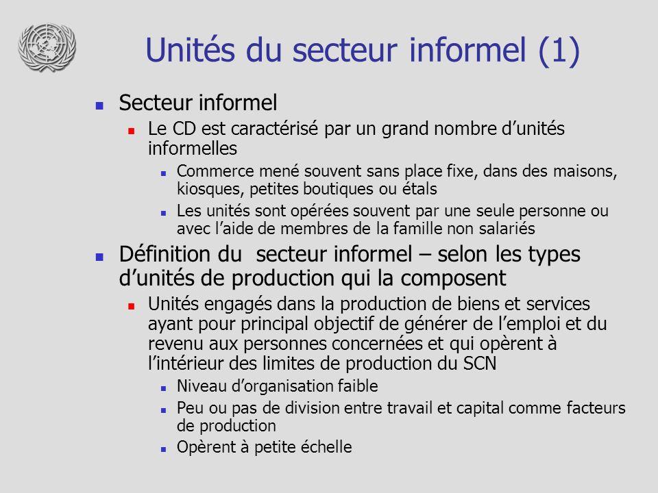 Unités du secteur informel (1) Secteur informel Le CD est caractérisé par un grand nombre dunités informelles Commerce mené souvent sans place fixe, d