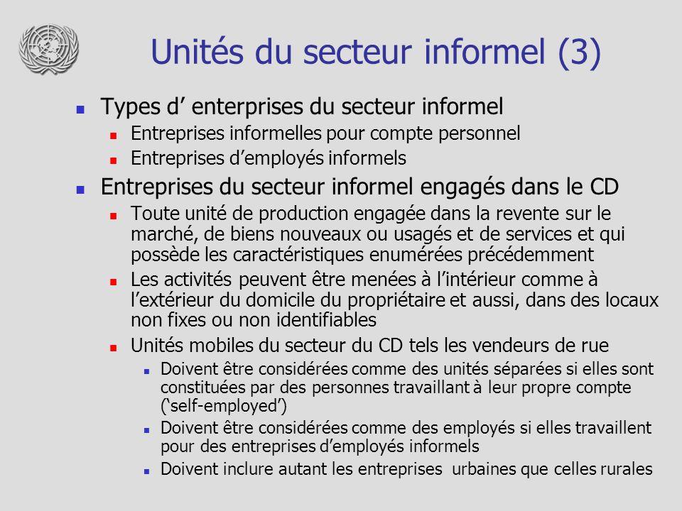 Unités du secteur informel (3) Types d enterprises du secteur informel Entreprises informelles pour compte personnel Entreprises demployés informels E