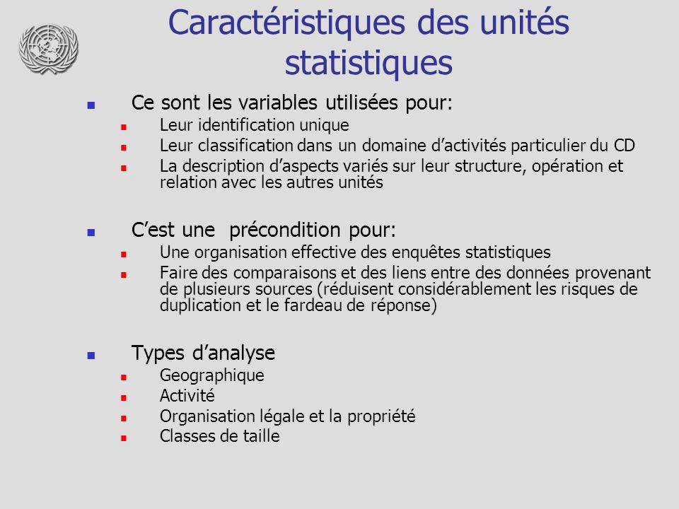 Caractéristiques des unités statistiques Ce sont les variables utilisées pour: Leur identification unique Leur classification dans un domaine dactivit