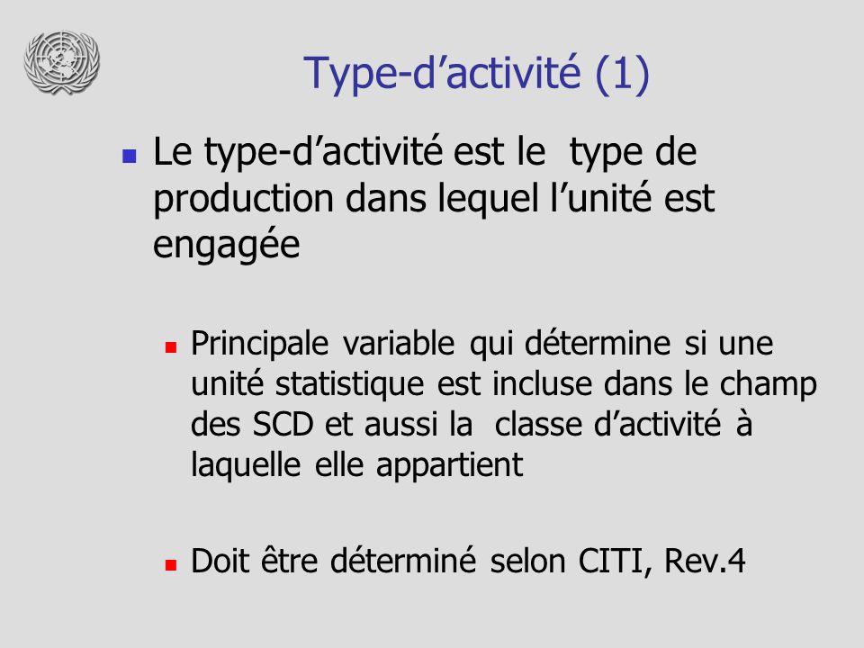 Type-dactivité (1) Le type-dactivité est le type de production dans lequel lunité est engagée Principale variable qui détermine si une unité statistiq