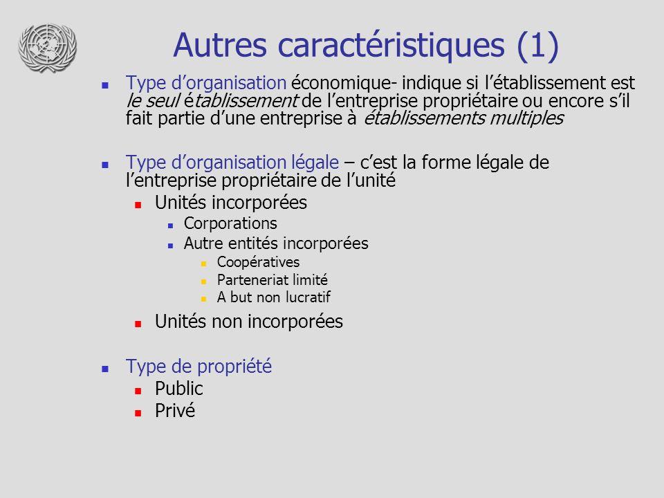 Autres caractéristiques (1) Type dorganisation économique- indique si létablissement est le seul établissement de lentreprise propriétaire ou encore s