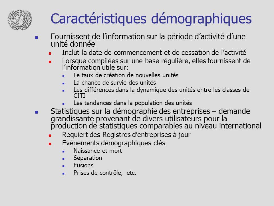 Caractéristiques démographiques Fournissent de linformation sur la période dactivité dune unité donnée Inclut la date de commencement et de cessation