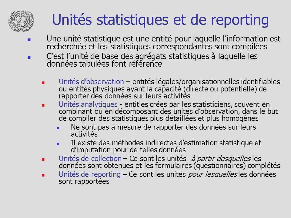 Unités statistiques et de reporting Une unité statistique est une entité pour laquelle linformation est recherchée et les statistiques correspondantes