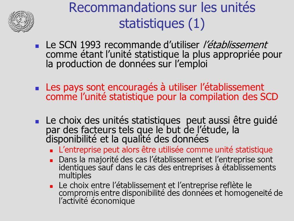 Recommandations sur les unités statistiques (2) Unité de type-dactivité La disponibilité des données par unité de type-dactivité peut suggérer dutiliser cette unité dans les enquêtes au lieu de létablissement Peut être considérée comme une bonne alternative à létablissement dans les pays pour lesquels les entreprises à établissements multiples organisent leur comptabilité sur cette base Dans ce cas-ci, la relation entre ces unités et les unités utilisées dans les autres enquêtes doit être indiquée Unité locale Utilisée dans la compilation de types de données particuliers pour lesquels aucune décomposition par activité nest requise Pas recommandée pour la compilation des SCD Groupe dentreprises Trop instable et divers en nature pour être adopté comme unité statistique en SCD Utile pour lanalyse financière ou pour létude des stratégies des compagnies