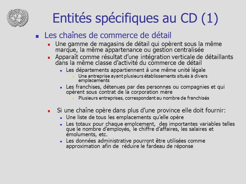 Entités spécifiques au CD (1) Les chaînes de commerce de détail Une gamme de magasins de détail qui opèrent sous la même marque, la même appartenance