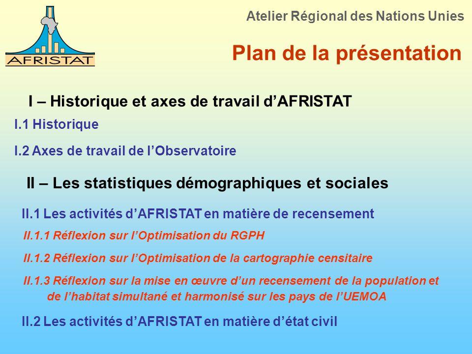 Plan de la présentation I – Historique et axes de travail dAFRISTAT I.1 Historique Atelier Régional des Nations Unies I.2 Axes de travail de lObservat