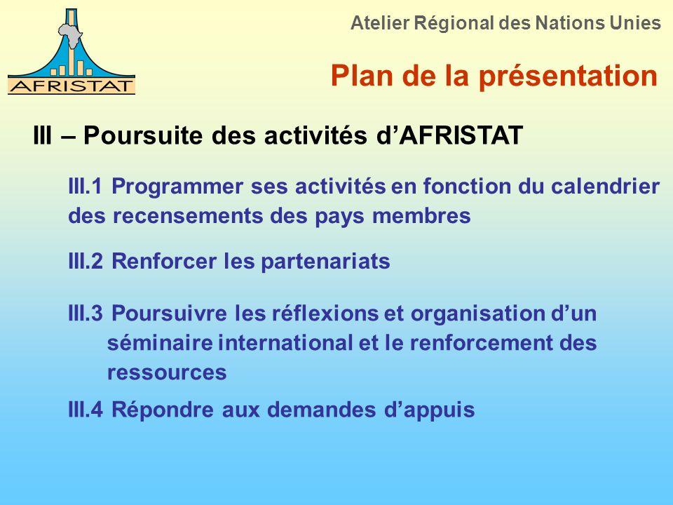 Plan de la présentation III – Poursuite des activités dAFRISTAT III.1 Programmer ses activités en fonction du calendrier des recensements des pays mem