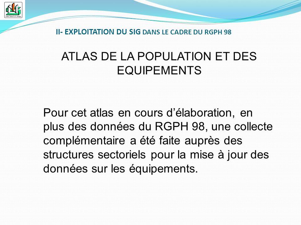 ATLAS DE LA POPULATION ET DES EQUIPEMENTS Pour cet atlas en cours délaboration, en plus des données du RGPH 98, une collecte complémentaire a été fait