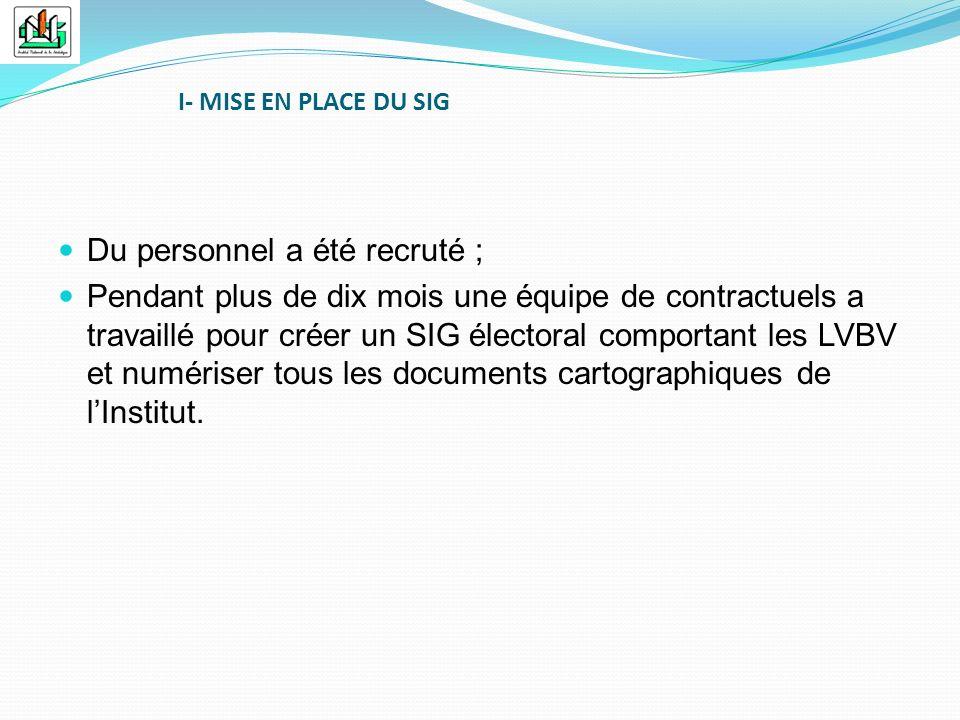 Du personnel a été recruté ; Pendant plus de dix mois une équipe de contractuels a travaillé pour créer un SIG électoral comportant les LVBV et numéri