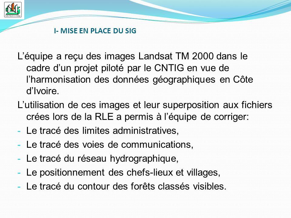 Léquipe a reçu des images Landsat TM 2000 dans le cadre dun projet piloté par le CNTIG en vue de lharmonisation des données géographiques en Côte dIvo