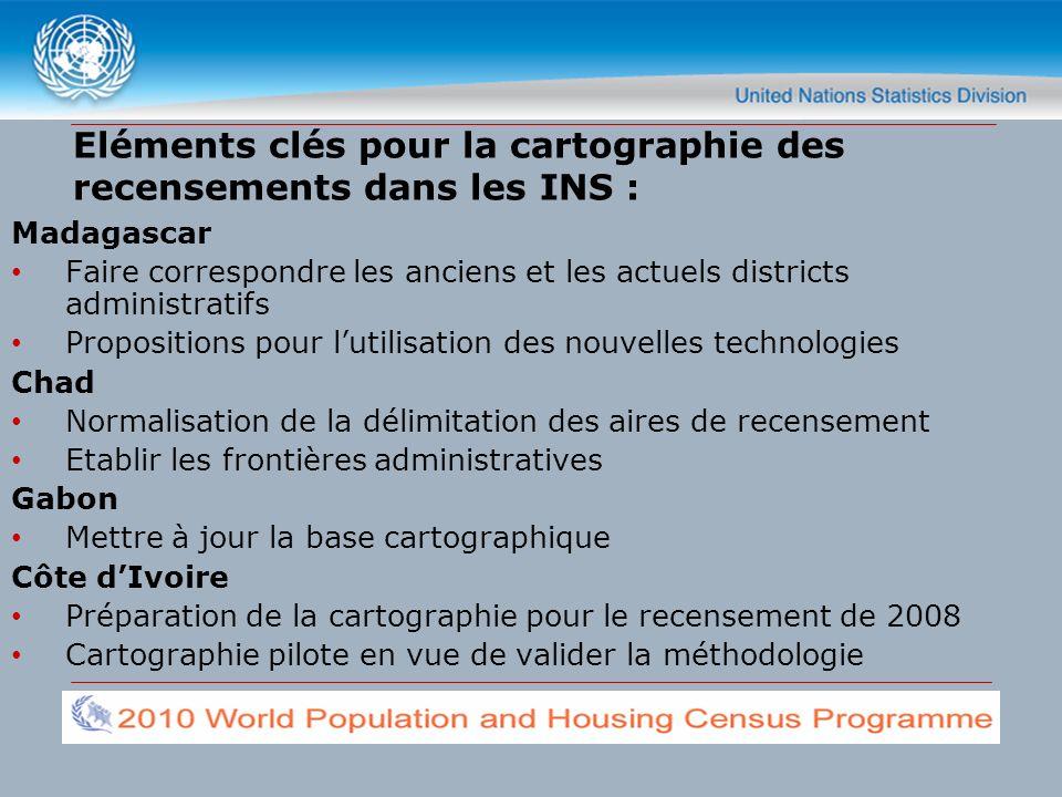 Eléments clés pour la cartographie des recensements dans les INS : Madagascar Faire correspondre les anciens et les actuels districts administratifs P