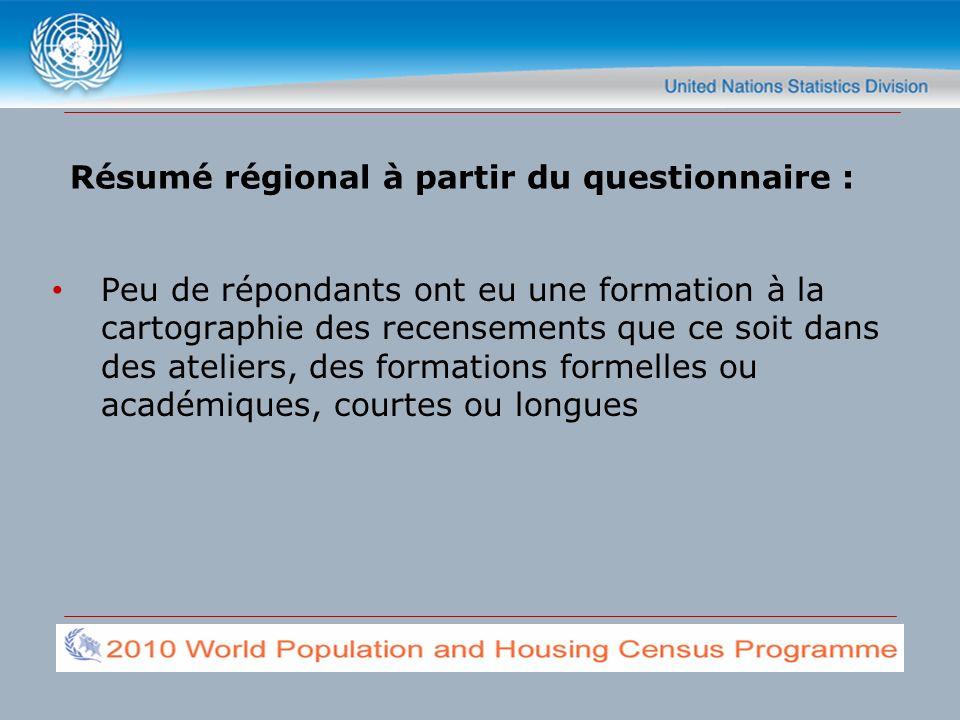 Peu de répondants ont eu une formation à la cartographie des recensements que ce soit dans des ateliers, des formations formelles ou académiques, courtes ou longues Résumé régional à partir du questionnaire :