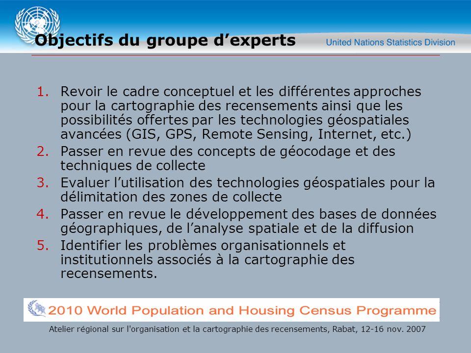 Objectifs du groupe dexperts 1.Revoir le cadre conceptuel et les différentes approches pour la cartographie des recensements ainsi que les possibilité