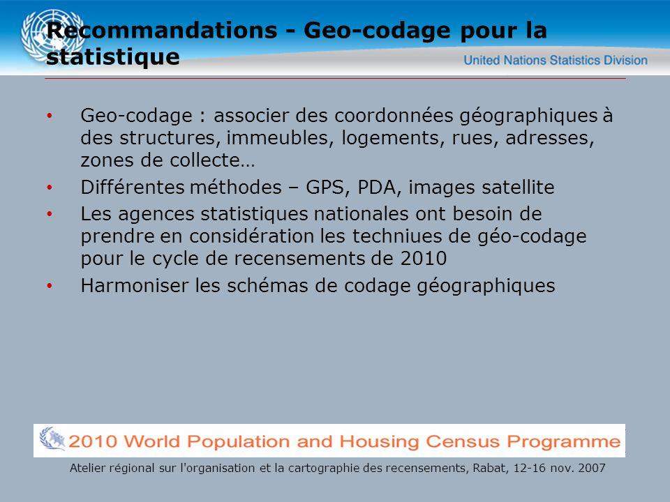 Recommandations - Geo-codage pour la statistique Geo-codage : associer des coordonnées géographiques à des structures, immeubles, logements, rues, adr