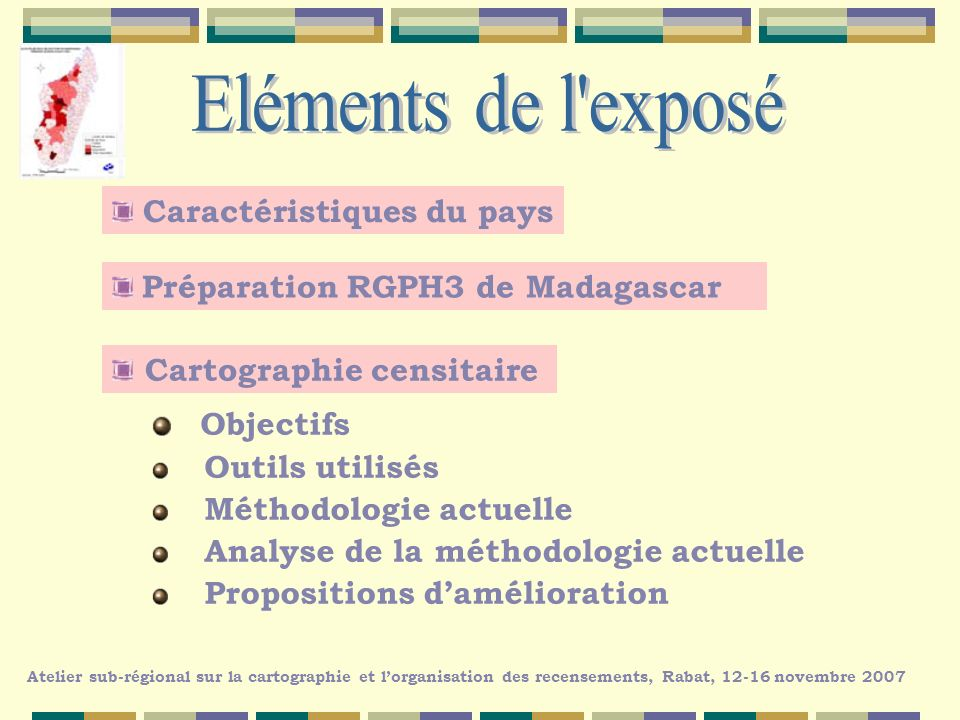 Caractéristiques du pays Préparation RGPH3 de Madagascar Cartographie censitaire Atelier sub-régional sur la cartographie et lorganisation des recense