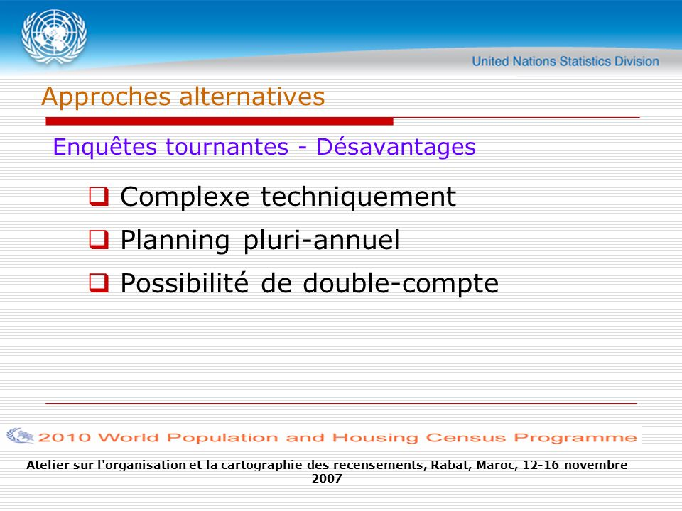 Atelier sur l organisation et la cartographie des recensements, Rabat, Maroc, 12-16 novembre 2007 Approches alternatives Enquêtes tournantes - Désavantages Complexe techniquement Planning pluri-annuel Possibilité de double-compte
