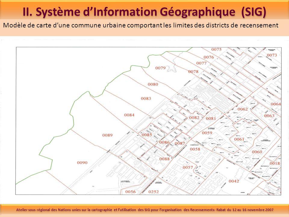Modèle de carte dune commune urbaine comportant les limites des districts de recensement