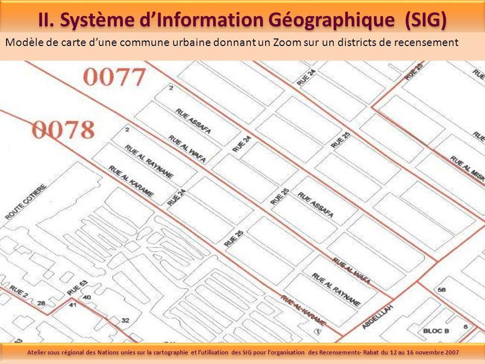 II. Système dInformation Géographique (SIG) Modèle de carte dune commune urbaine donnant un Zoom sur un districts de recensement