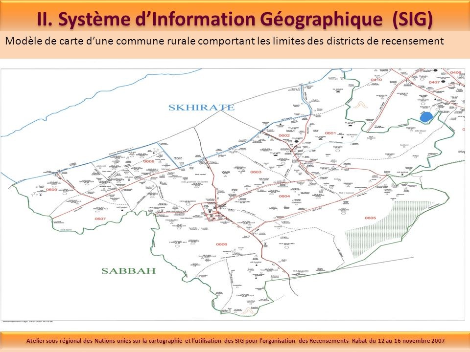 II. Système dInformation Géographique (SIG) Modèle de carte dune commune rurale comportant les limites des districts de recensement